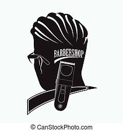 barbiere, elegante, negozio