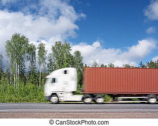barbouillage, autoroute, mouvement, camion, expédier, rural, blanc