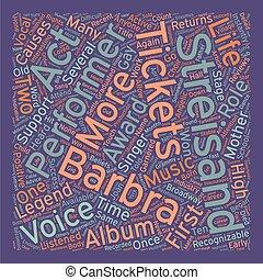 barbra, streisand, bilhetes, um, vocal, lenda, rentabilidade, para, a, fase, texto, fundo, wordcloud, conceito