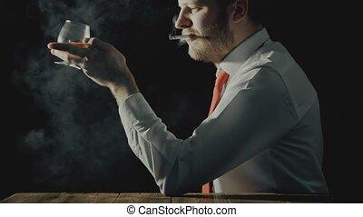 barbu, alcoolique, verre, boisson, fumées, cigarette, ...