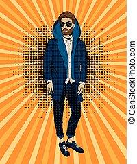 barbu, art, pop, hipster, portrait, homme