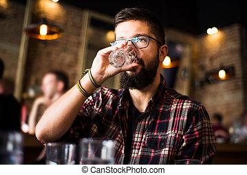 barbu, barre, café, eau, boire, homme