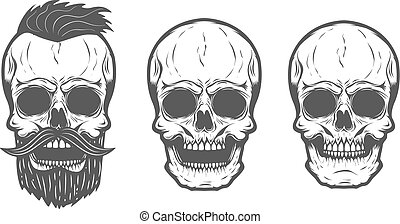 barbu, crâne, isolé, illustration, arrière-plan., vecteur, blanc