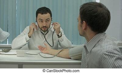 barbu, docteur, clients, pression, clinique, mesure, mâle