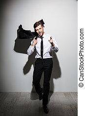 barbu, entiers, pointage, longueur, veste, confiant, quoique, sien, noir, doigt, tenue, portrait, vous, homme