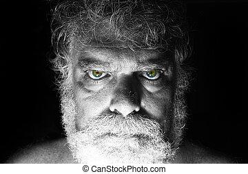 barbu, fâché, figure, mûrir, dévisager, homme
