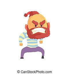 barbu, fâché, illustration, vecteur, agressif, dessin animé, homme