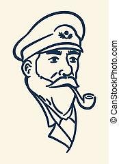 barbu, fumer, bateau, tuyau, capitaine