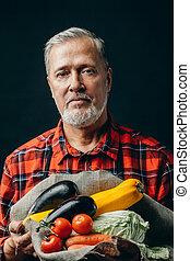 barbu, légumes, lit, gardern, a, rassemblé, impressionnant, homme
