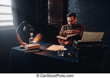 barbu, livre, verres lecture, auteur