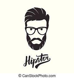 barbu, mode, glasses., hipster, portrait, homme