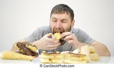 barbu, nourriture, dévorer, mais, nuisible, délicieux, cake., homme