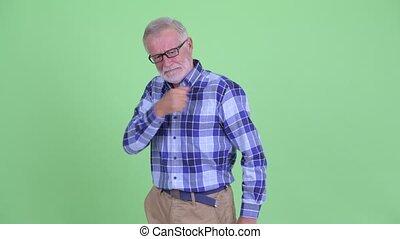 barbu, pointage, fâché, appareil photo, hipster, homme aîné