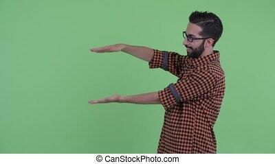 barbu, projection, claquer doigts, jeune, persan, hipster, quelque chose, homme, heureux