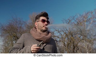 barbu, spring., jeune homme, haut., fin, parc, hipster, ...