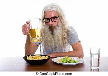 barbu, verre projectile, bière, studio, hea, tenue, homme aîné