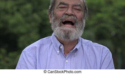barbu, vieux, hispanique, rire, homme aîné