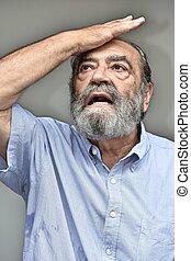barbu, vieux, mâle, mémoire, problèmes