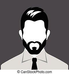 barbudo, avatar, hombre