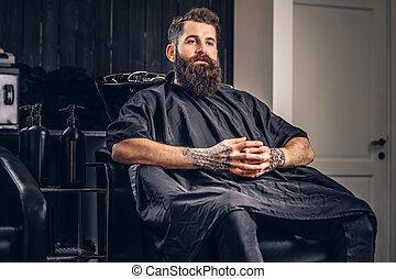 barbudo, barbershop., hombre, guapo