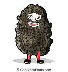 barbudo, caricatura, hombre