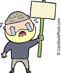 barbudo, caricatura, llanto, protestador