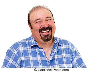 barbudo, caucásico, reír, fuerte, alegre, hombre