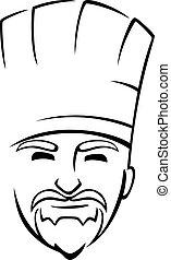barbudo, chef, con, un, toque
