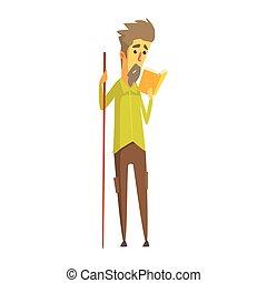 barbudo, coloridos, madeira, personagem, longo, book., segurando, leitura, ponteiro, caricatura, homem