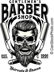 barbudo, cranio, vindima, cruzado, navalhas, barbeiro