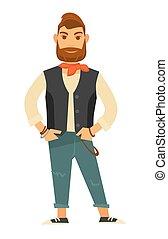 barbudo, cuero, vaqueros, chaleco, elegante, hombre