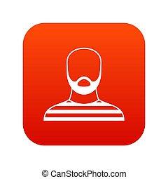 barbudo, digital, traje, prisão, ícone, vermelho, homem