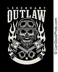 barbudo, emblema, cranio, vindima, biker, cruzado, pistões