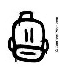 barbudo, encima, grafiti, negro, blanco, fez, emoji