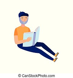 barbudo, estudar, jovem, isolado, experiência., livro, branca, leitura, homem