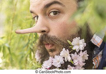 barbudo, flores, mentiroso
