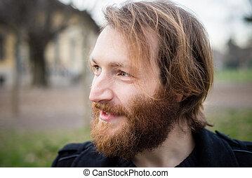 barbudo, hipster, joven, rojo, hombre