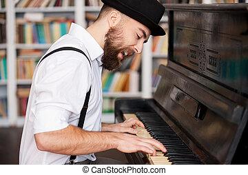 barbudo, hombres, joven, creativo, soul., obtenido, piano, guapo, canto, juego, él