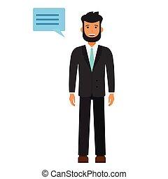 barbudo, homem jovem, em, paleto, caricatura, apartamento, vetorial, ilustração, conceito, ligado, isolado, fundo branco