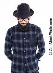barbudo, homem preto, africano, óculos, chapéu, bonito