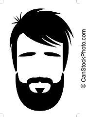 barbudo, ilustración, hombre