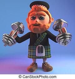 barbudo, kilt, exercitar, ilustração, caricatura, escocês, homem, pesos, vermelho, 3d