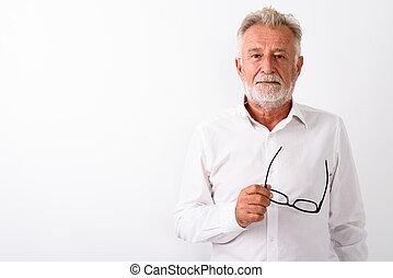 barbudo, lentes, tiro, ag, estudio, tenencia, 3º edad, guapo, hombre