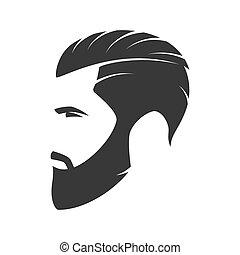 barbudo, moda, silueta, emblema, avatar, hipster, hombre,...
