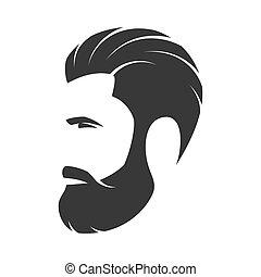 barbudo, moda, silueta, emblema, avatar, hipster, label.,...