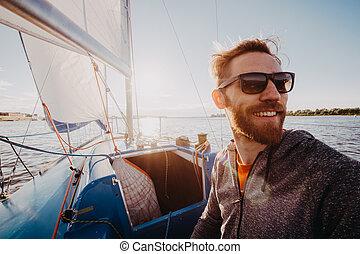 barbudo, ou, óculos de sol, regata, vestido, river., bonito,...