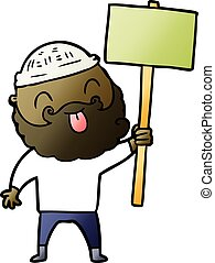 barbudo, protestador, caricatura