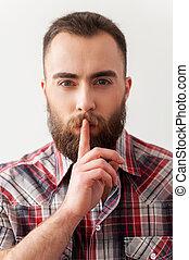 barbudo, retener, silence., guapo, joven, salience, retrato, elaboración, señal, hombre