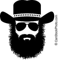 barbudo, silueta, hombre