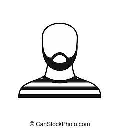 barbudo, simples, traje, estilo, prisão, ícone, homem